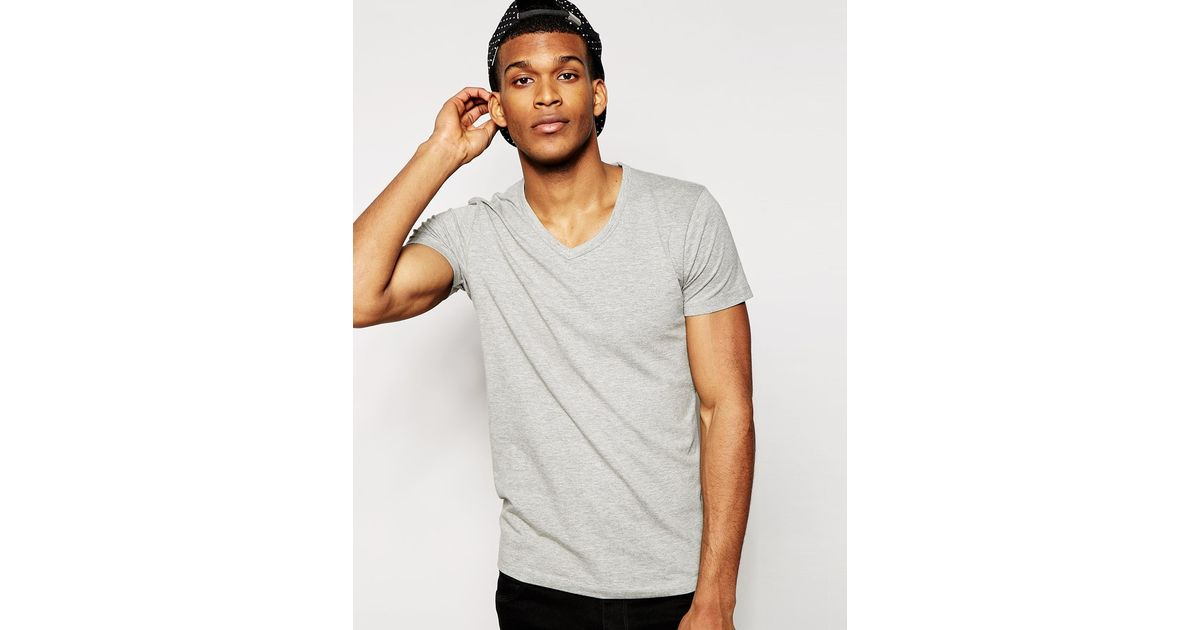 jack jones t shirt in regular fit grey in gray for men lyst. Black Bedroom Furniture Sets. Home Design Ideas