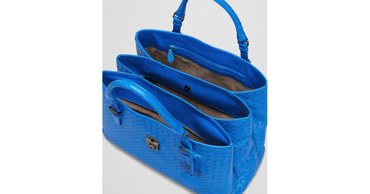 Lyst - Bottega Veneta Signal Blue Intrecciato Light Calf Roma Bag in Blue 88f14986ef0c3