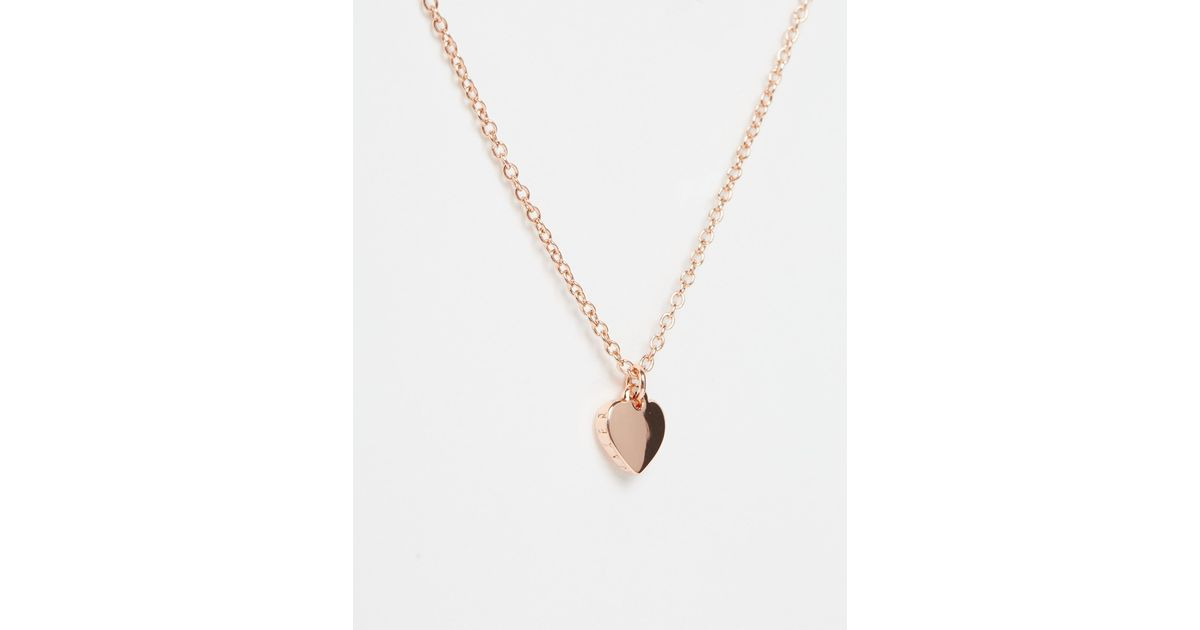 Lyst ted baker hara tiny heart pendant necklace in pink mozeypictures Images