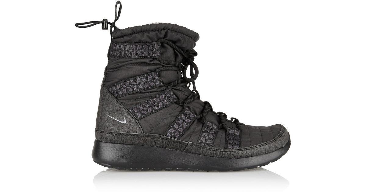 a08f7b8d0d8f Lyst - Nike Roshe Run Hi Shell Sneaker-Style Boots in Black