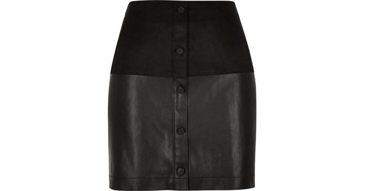 River island Black Faux-suede Button-up Mini Skirt in Black | Lyst