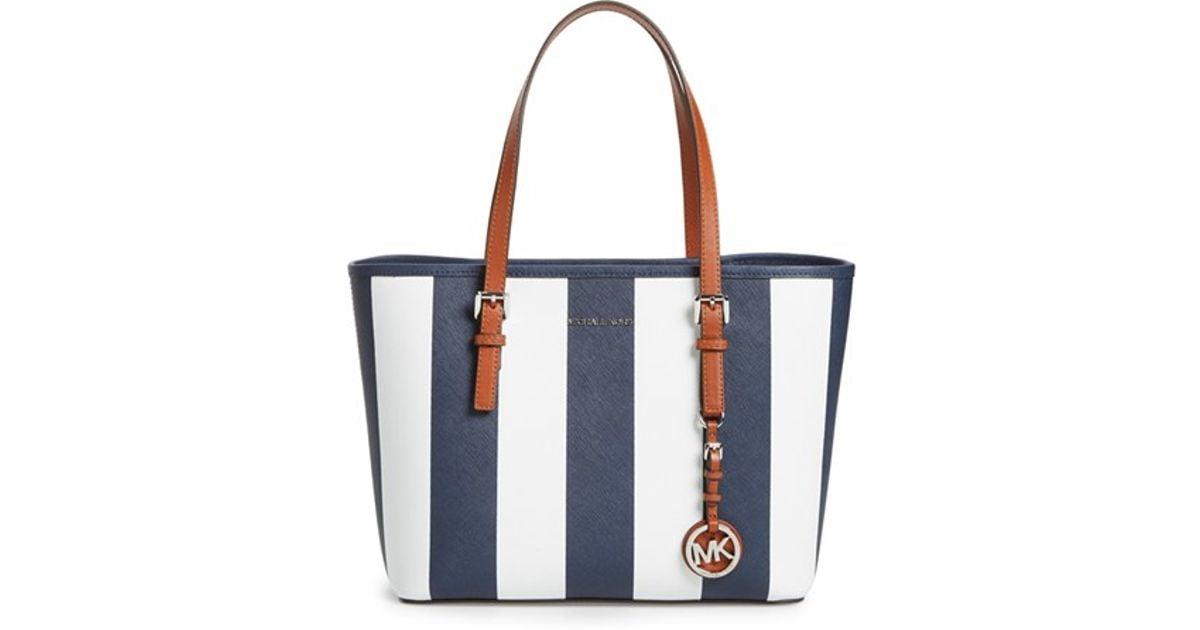 32982eb6189e ... hobo shoulder bag purse navy blue gold 57e1f 44394; switzerland lyst michael  michael kors small jet set stripe leather travel tote in blue 01b92 48734