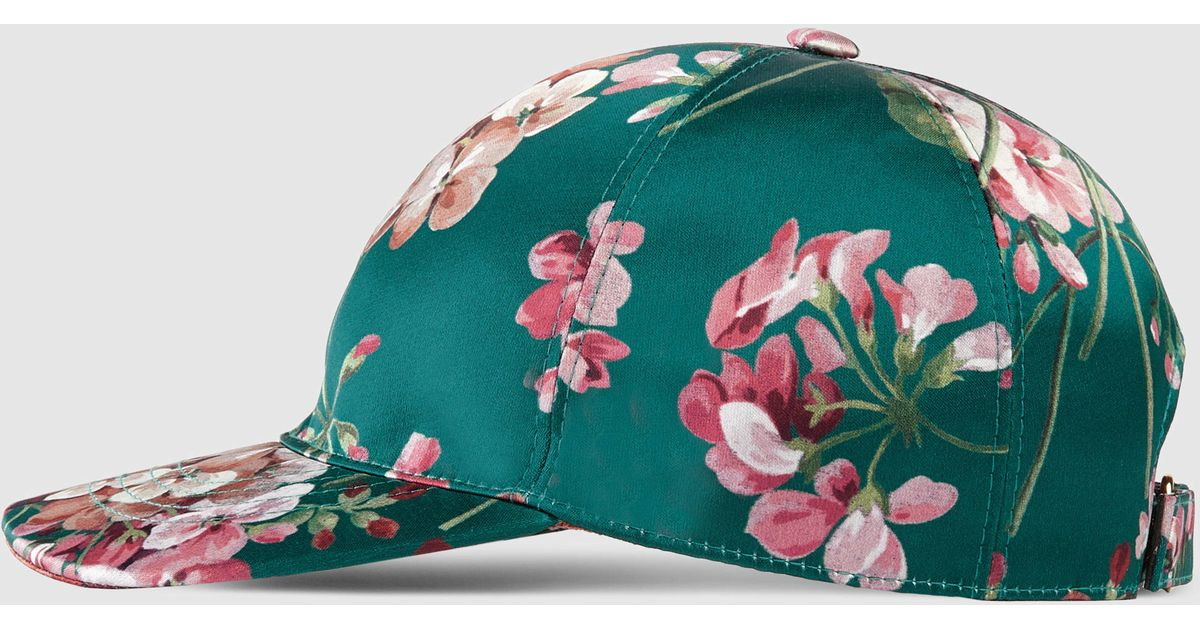 Lyst - Gucci Blooms Silk Baseball Hat in Green for Men f6b1c2d2953