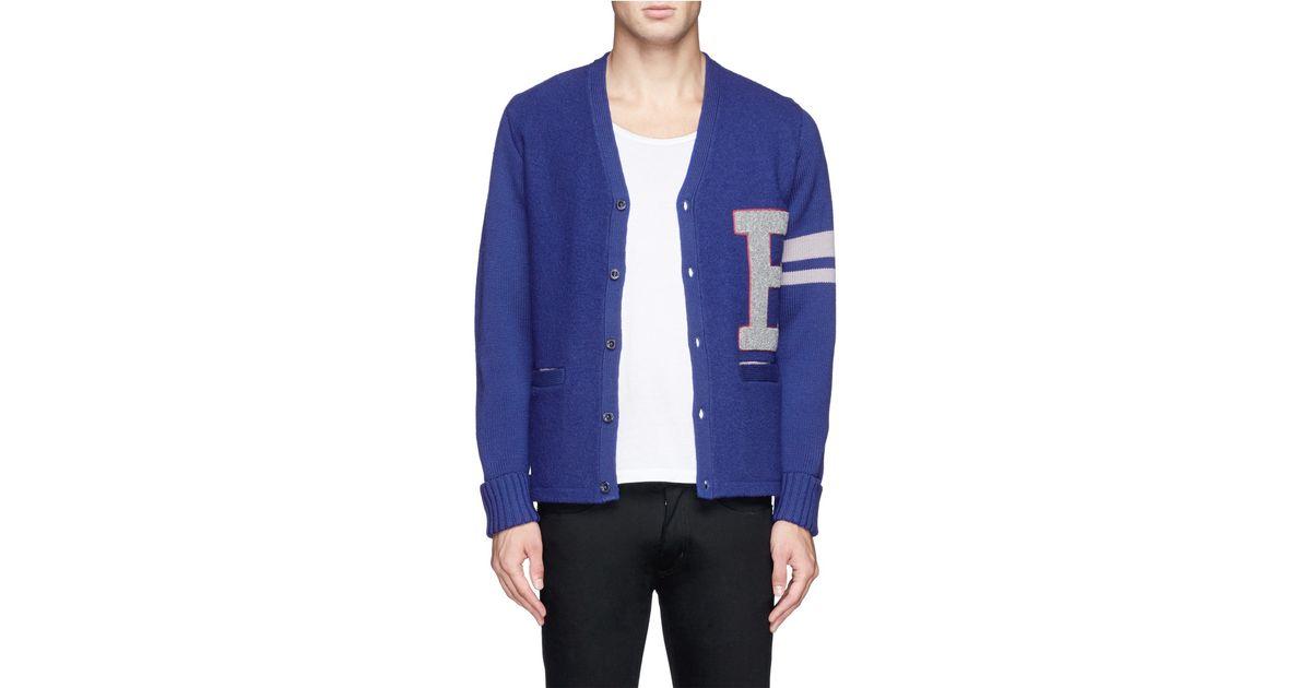 Lyst - Beams plus 'b+ Lettered' Varsity Cardigan in Blue for Men