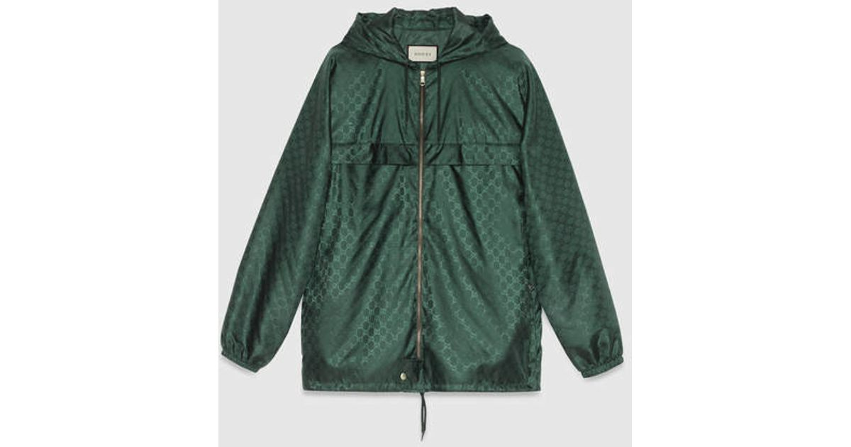 Gucci Gg Jacquard Quilted Nylon Jacket in Green | Lyst