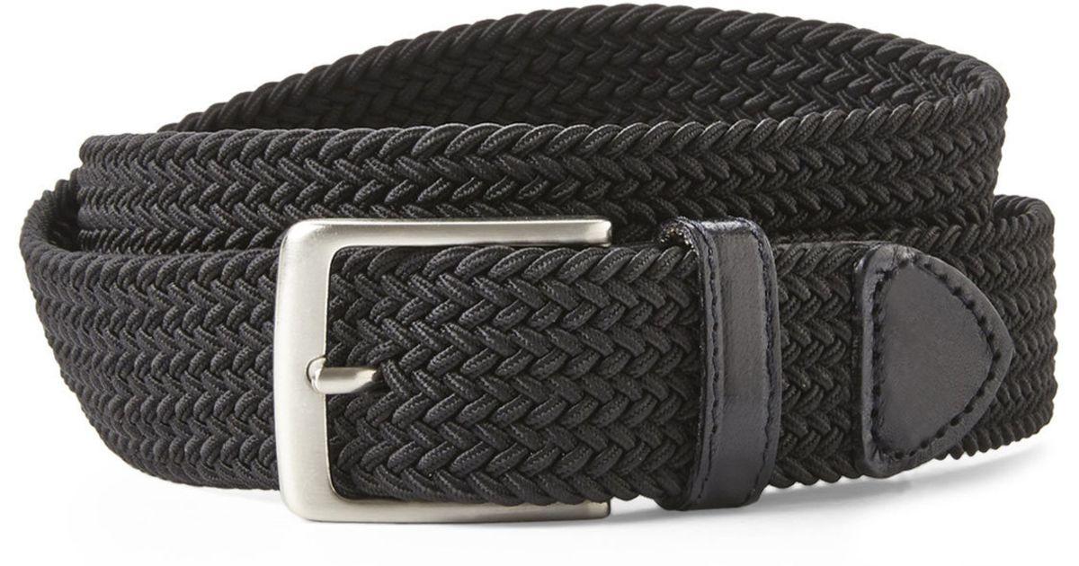 Dockers Black Woven Stretch Belt In Black For Men Lyst