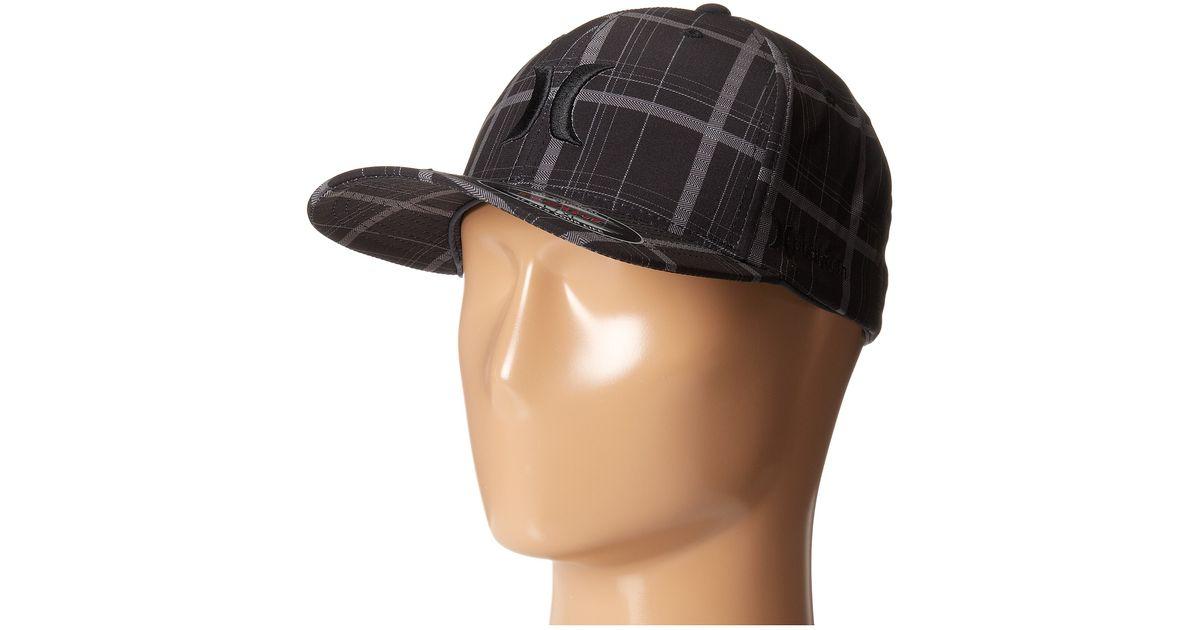 84d7460ac Hurley Black Phantom Plaid Flexfit Permacurve Hat for men