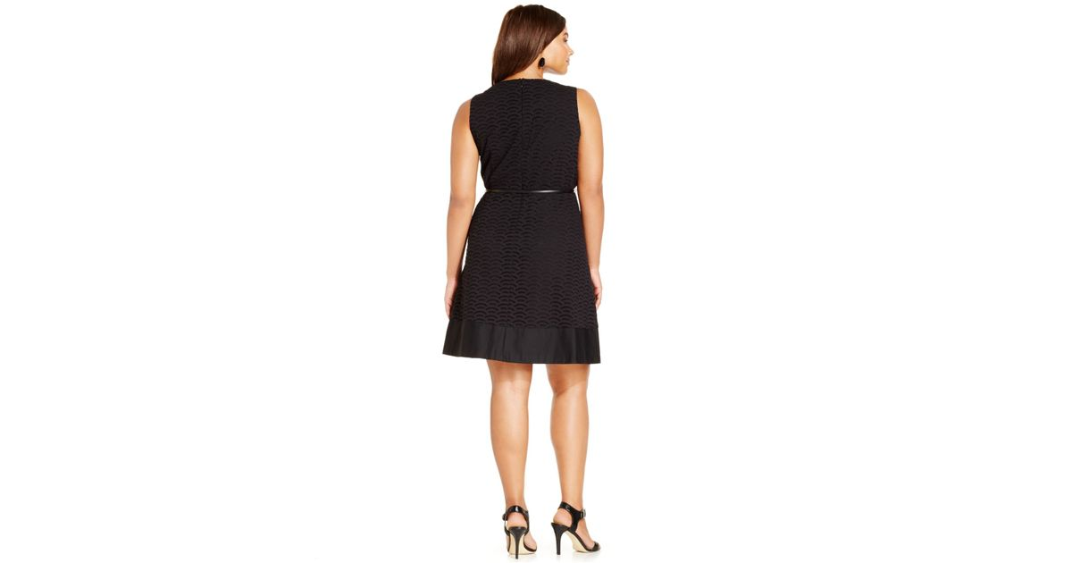 Lyst Calvin Klein Plus Size Eyelet A Line Belted Dress In Black
