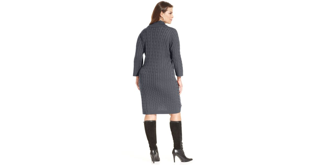 Knit Size Sweater Plus Cable In Dress Gray Lyst Calvin Klein XZkiuP