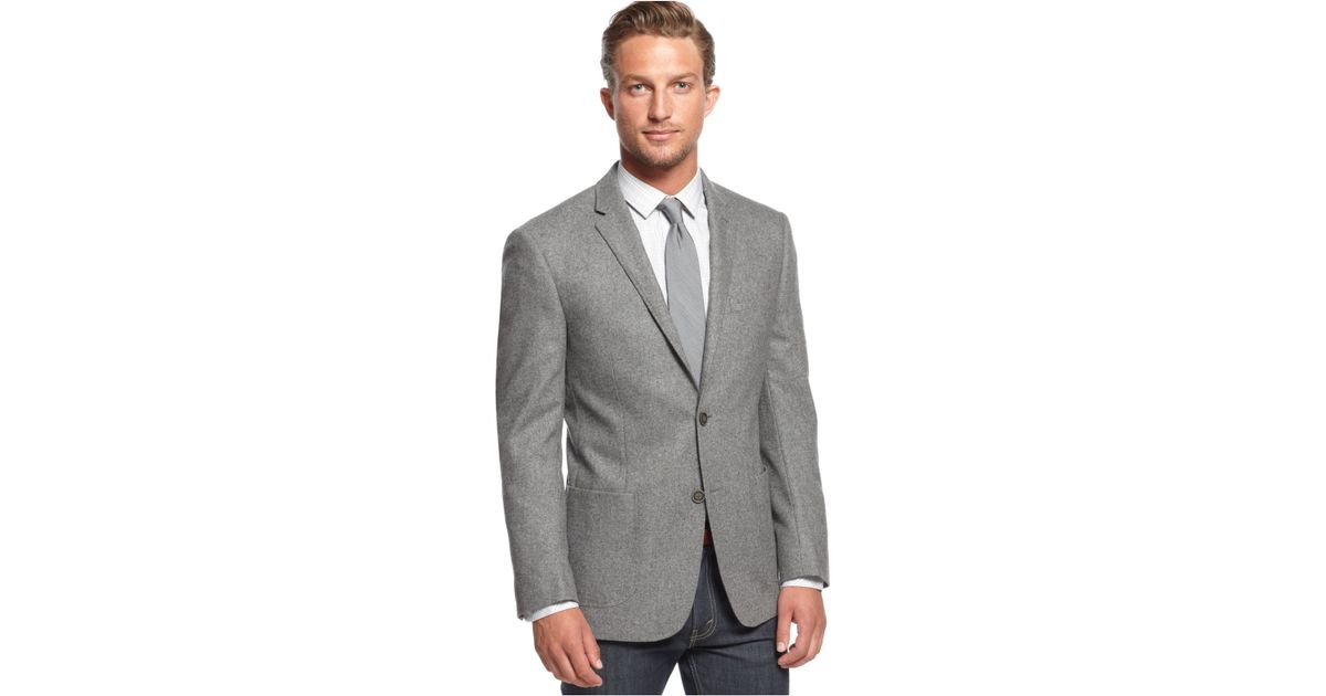 Dkny Light Grey Heather Patch Pocket Extra-Slim-Fit Sport Coat in
