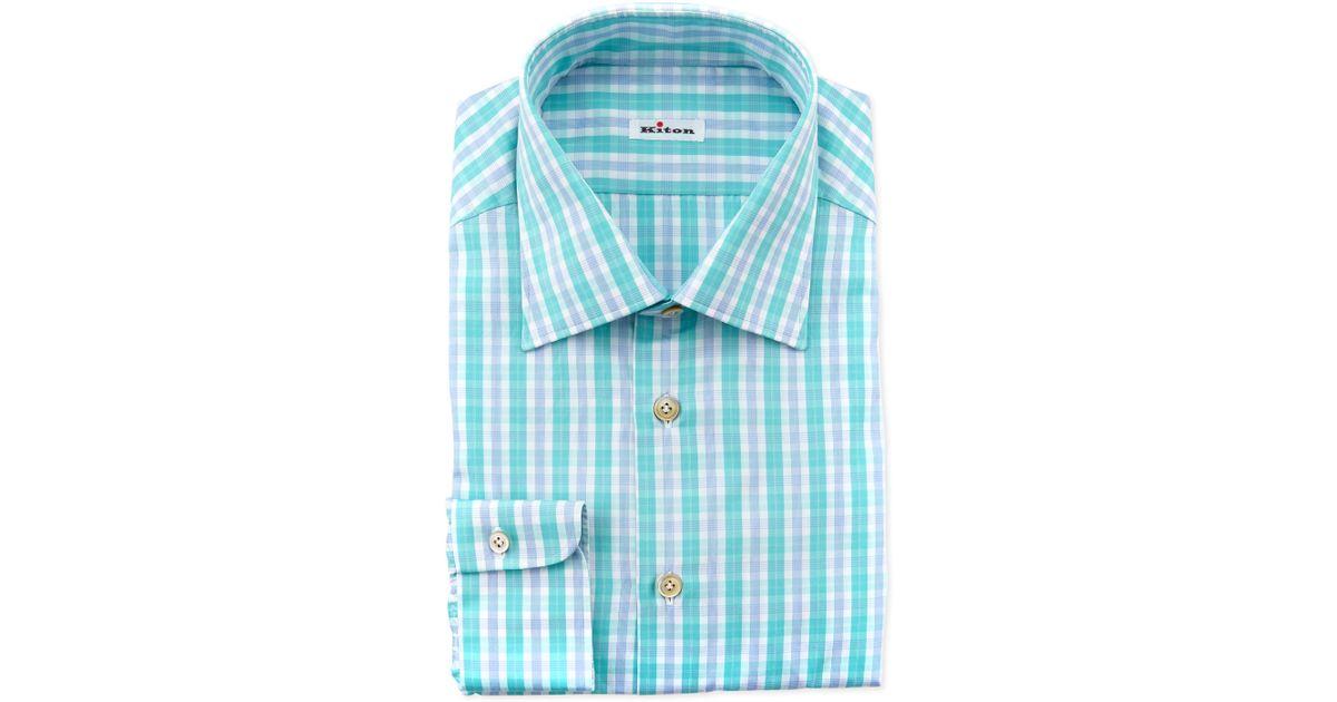 Kiton Plaid Dress Shirt Aqua In Blue For Men Aqua Lyst