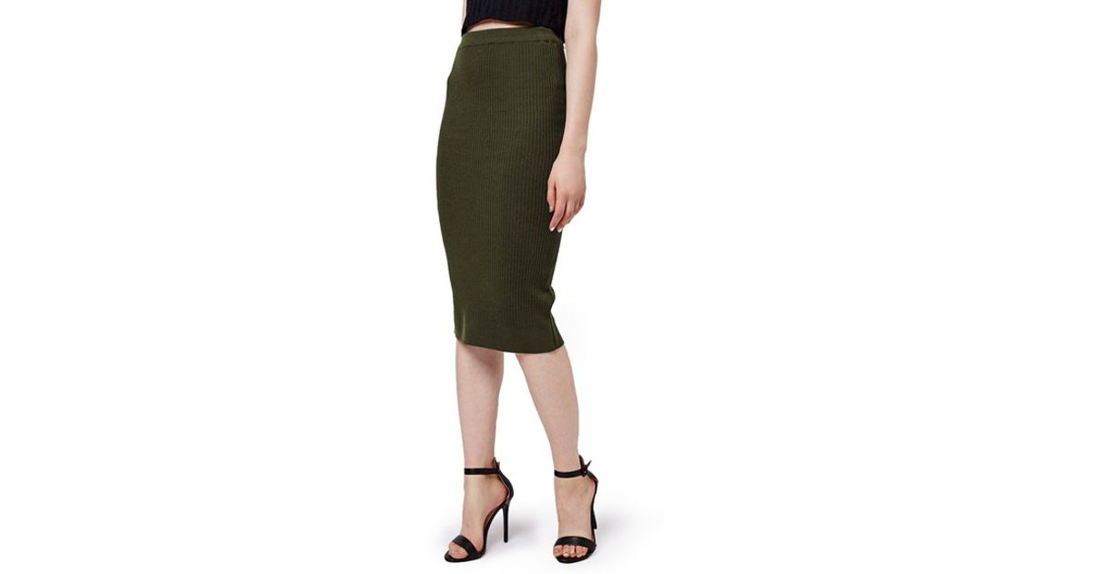 topshop ribbed con midi skirt in green lyst