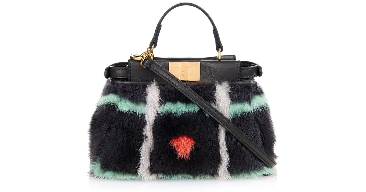 f098759736e2 Lyst - Fendi Micro Peekaboo Mink-Fur Cross-Body Bag in Black