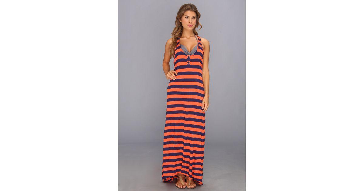 splendid marcel stripe maxi dress coverup in orange   lyst