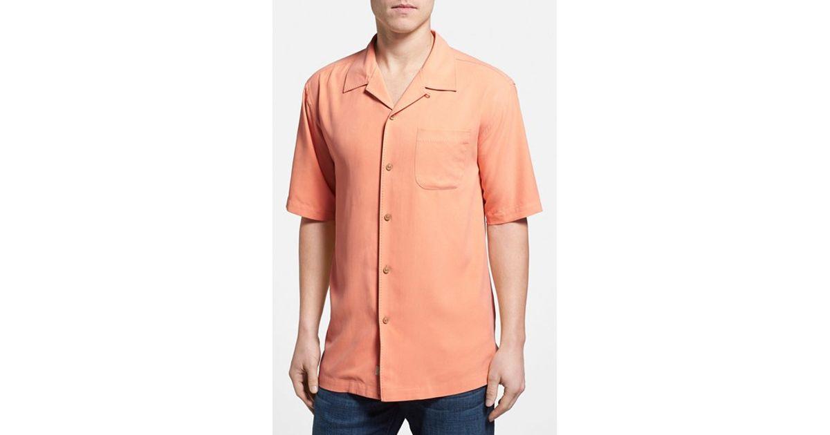 Tommy bahama 39 catalina twill 39 silk camp shirt in pink for for Tommy bahama catalina twill silk camp shirt