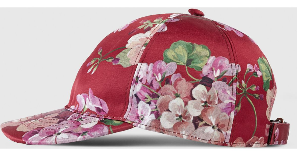 e00560e2042 Lyst - Gucci Blooms Silk Baseball Hat in Pink
