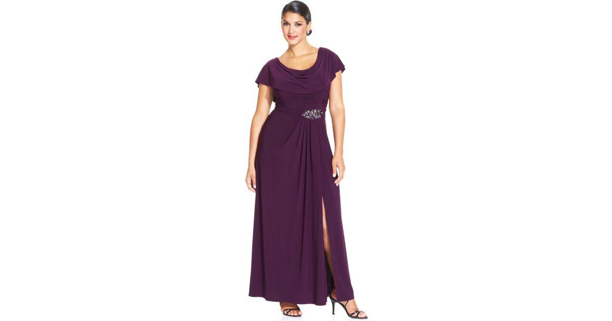 Patra Purple Plus Size Flutter-sleeve Jewel Gown