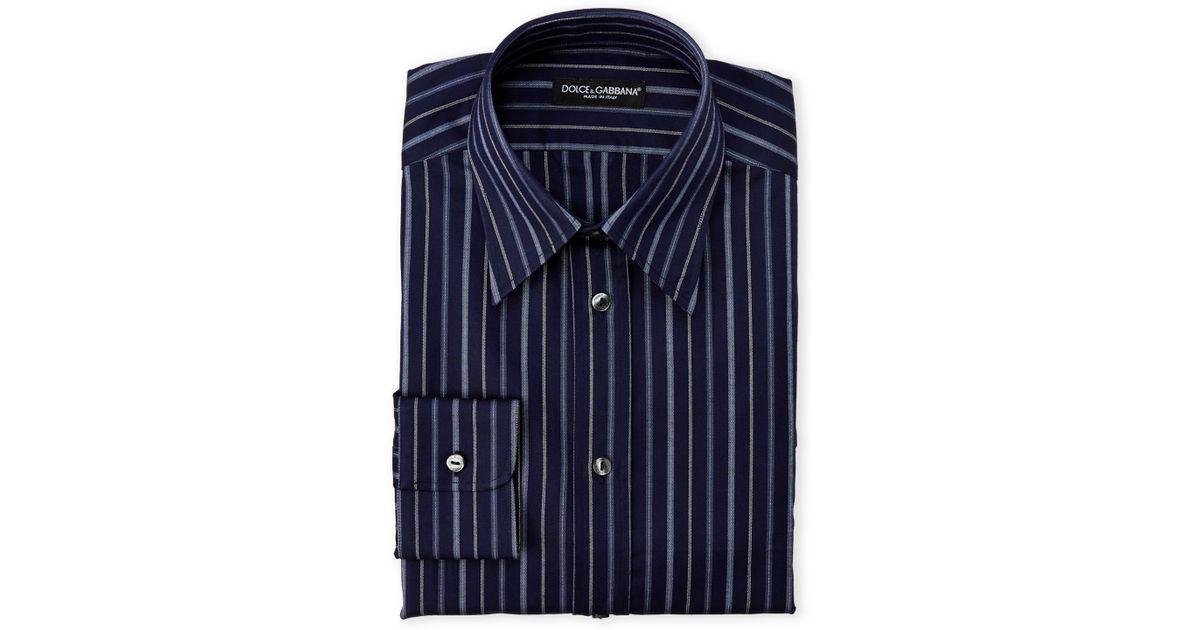 3cc10cffd42 Lyst - Dolce & Gabbana Boxed Dark Blue Striped Dress Shirt in Blue for Men