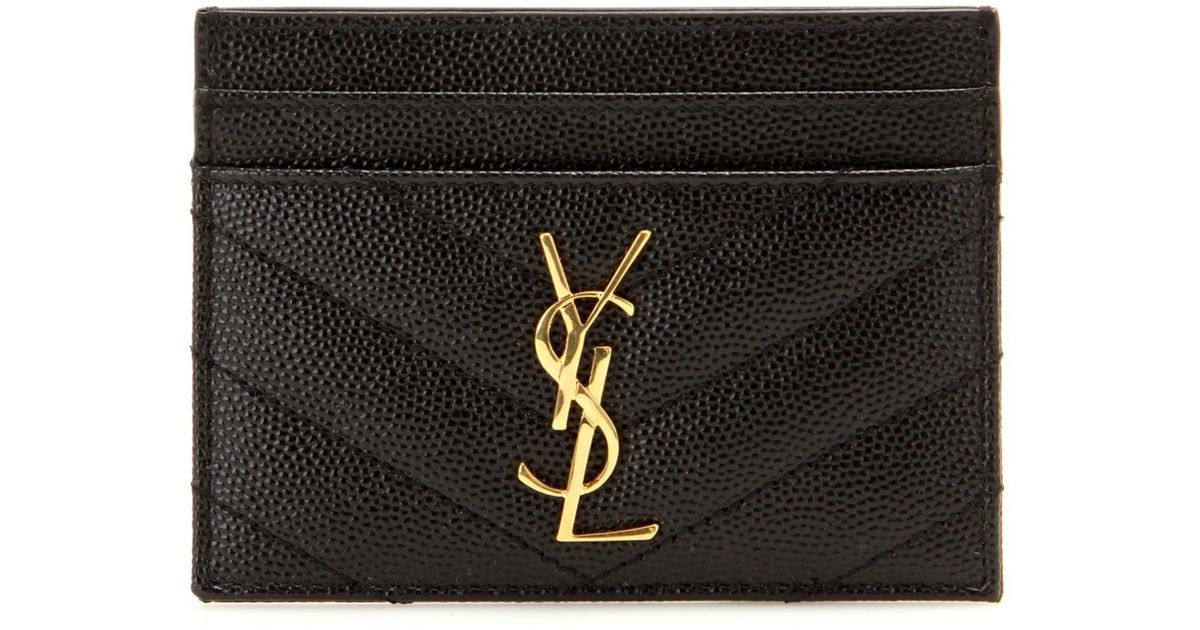 f49c4a83503 Saint Laurent Monogram Quilted Leather Card Holder in Black - Lyst