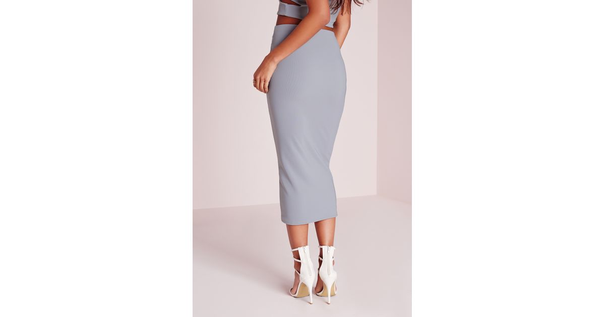 missguided cut out waist midi skirt grey in gray lyst