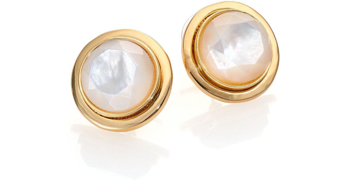Lyst Kate Spade New York Polish Up Mother Of Pearl Stud Earrings In Metallic