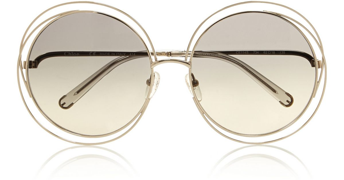9d4ef22f5c670 Chloé Carlina Oversized Round-Frame Stainless Steel Sunglasses in Gray -  Lyst