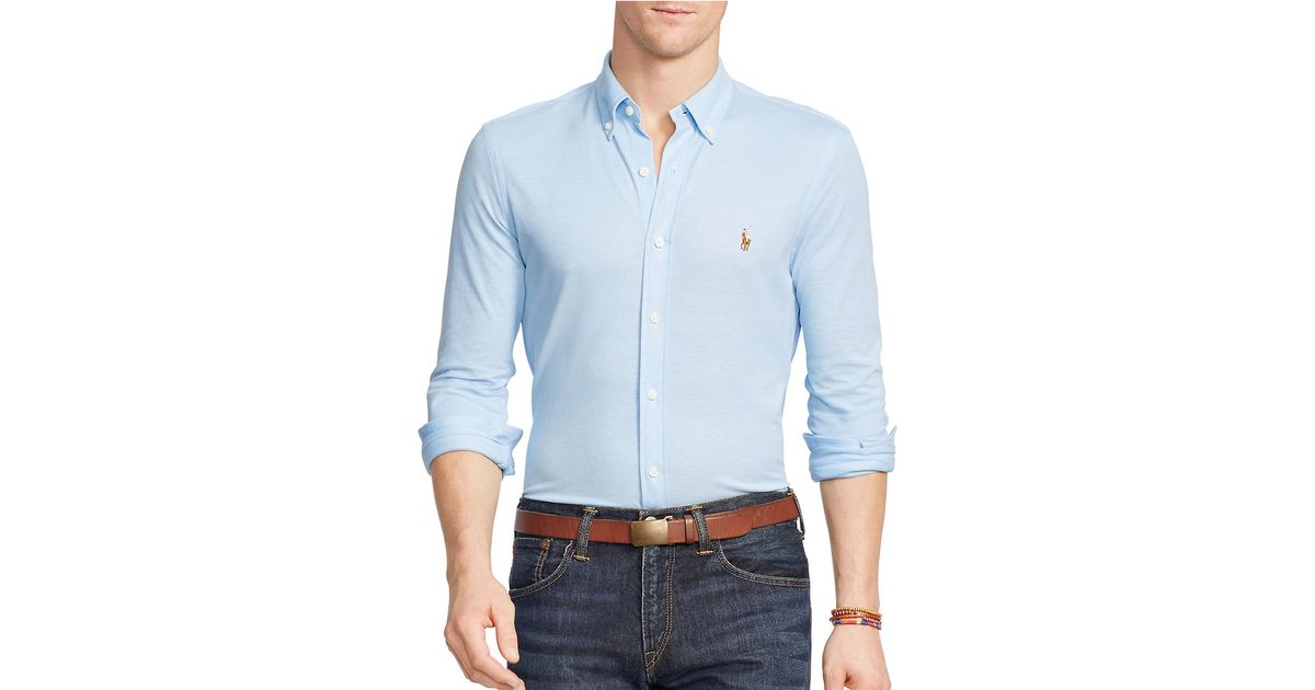 polo ralph lauren knit oxford shirt in blue for men lyst. Black Bedroom Furniture Sets. Home Design Ideas