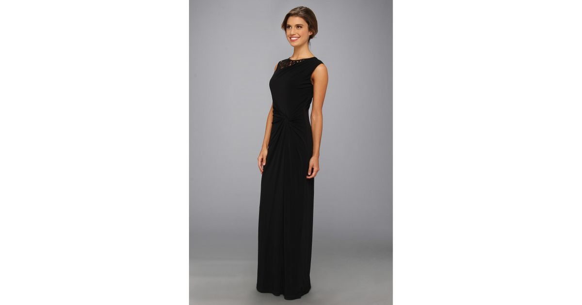 Lyst - Ellen Tracy Lace Detail Gathered Sleeveless Gown in Black