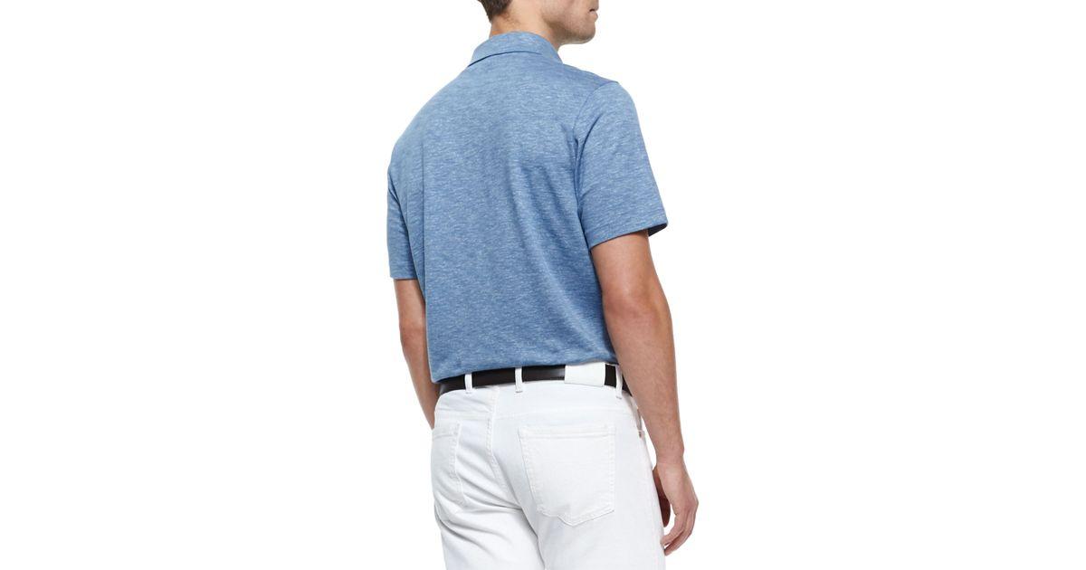 Ermenegildo zegna spread collar polo shirt in blue for men for Zegna polo shirts sale