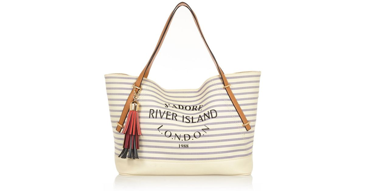 River island Cream Stripe Tassel Beach Bag in Natural | Lyst