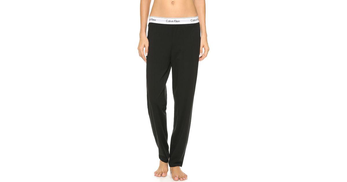 41ebd4556f78 Calvin Klein Modern Cotton Wide Pants in Black - Lyst
