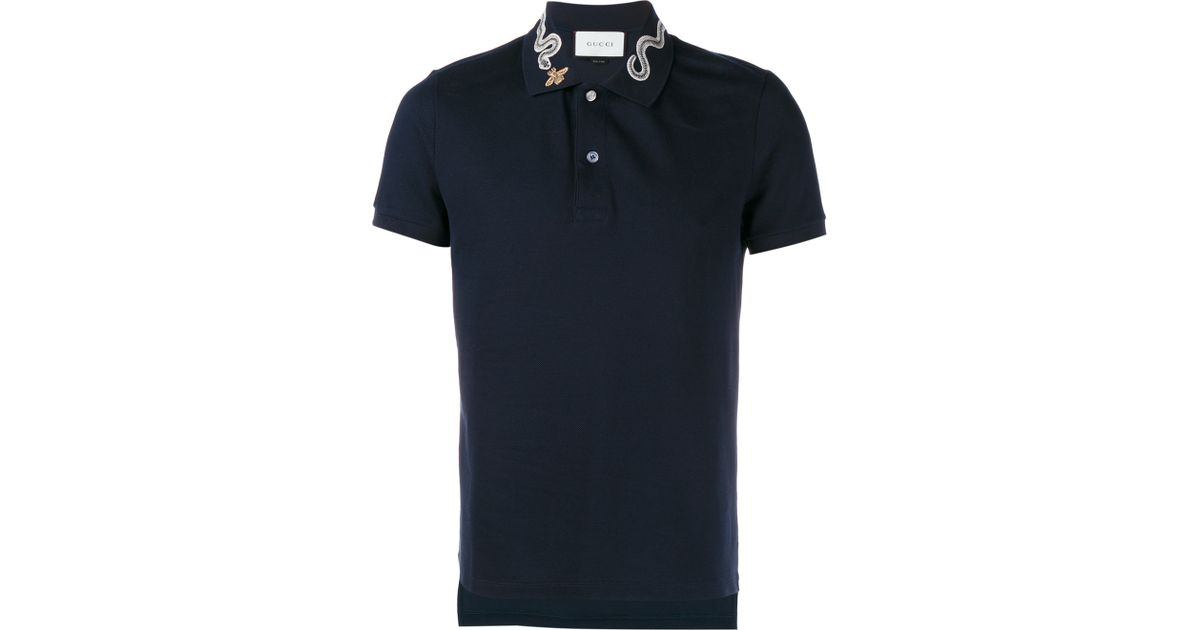 702033d1 Gucci Snake And Bee Collar Polo Shirt in Blue for Men - Lyst