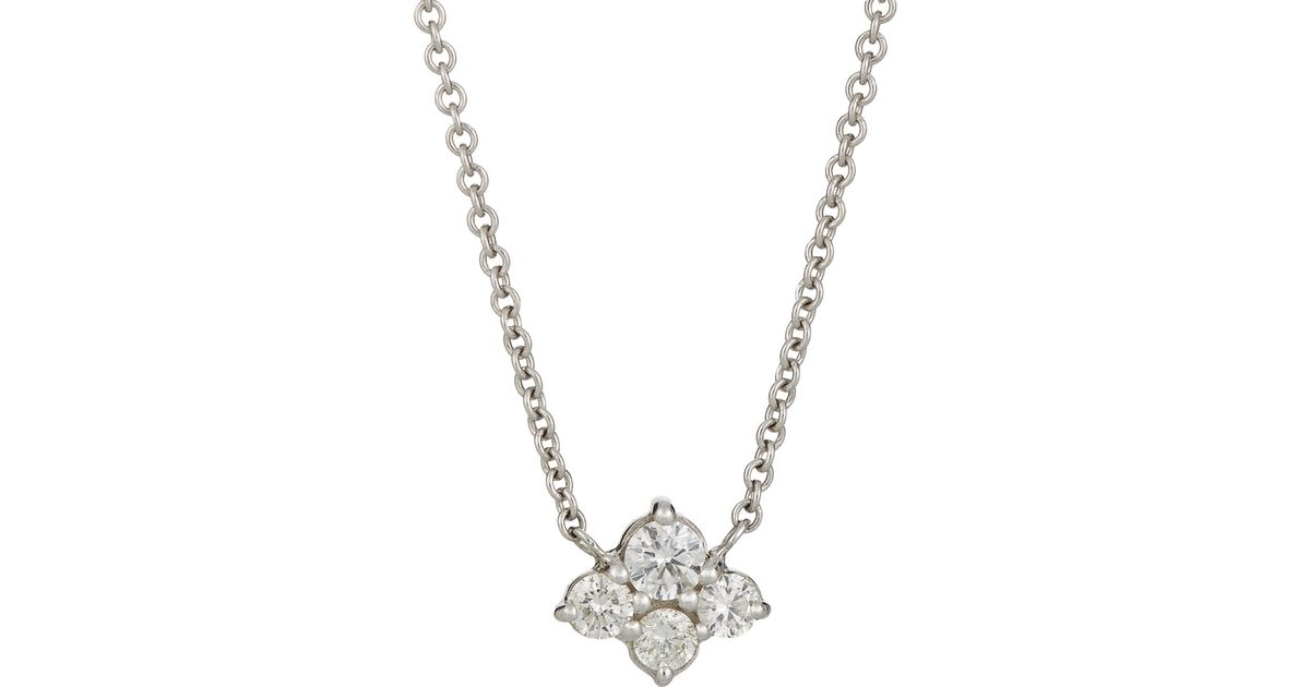 47908fc3c9440 Sara Weinstock Metallic 4 Diamond Cluster Pendant Necklace