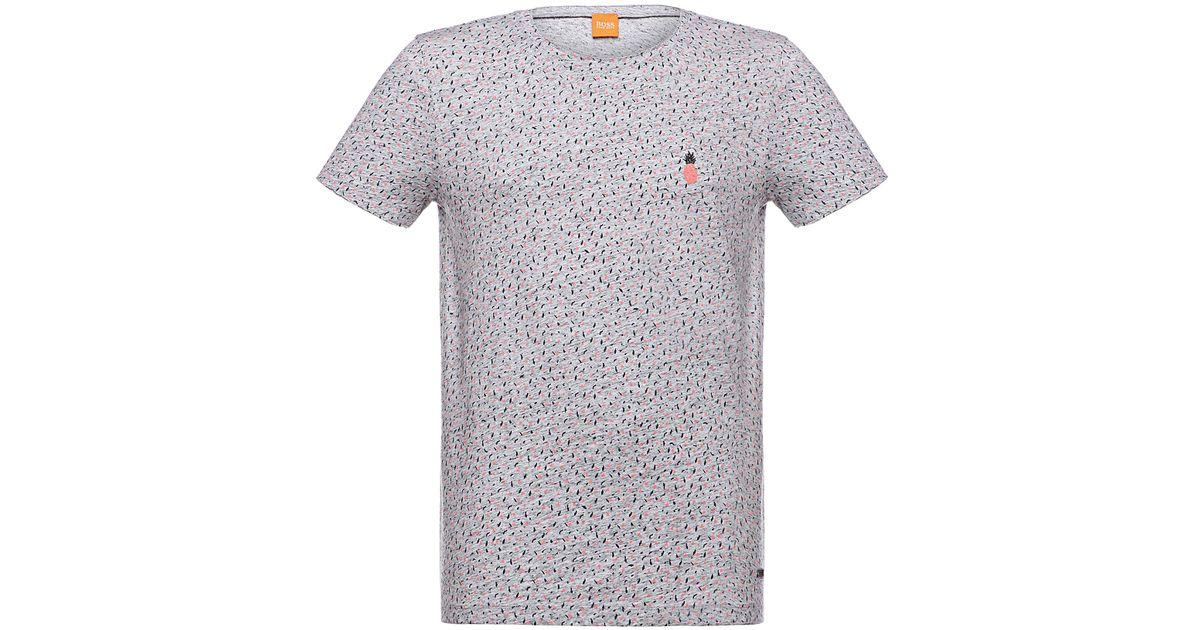BOSS Orange Gray 'tamsyn' | Cotton Pineapple T-shirt for men