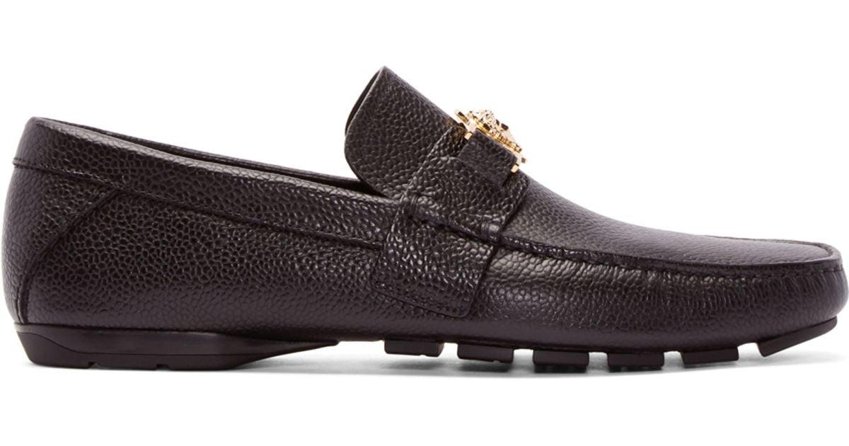 Versace Black Leather Medusa Loafers