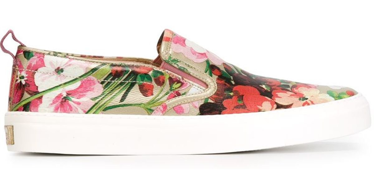 Gucci Floral Print Slip-on Sneakers - Lyst