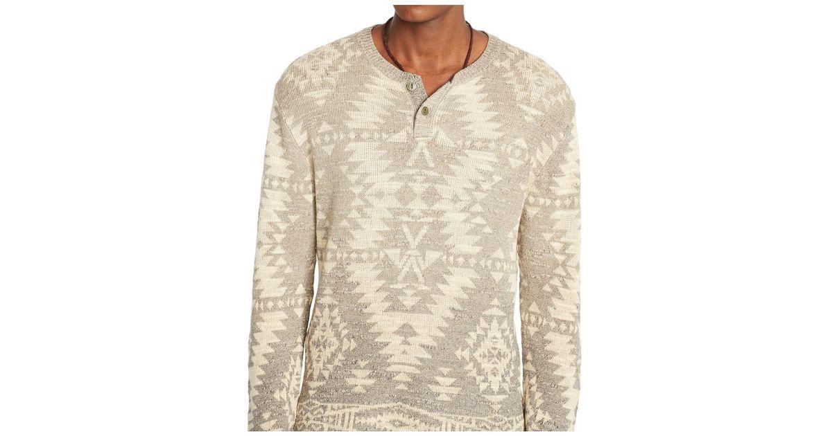 88635e85 Denim & Supply Ralph Lauren Men's Southwestern Henley Sweater in Natural  for Men - Lyst