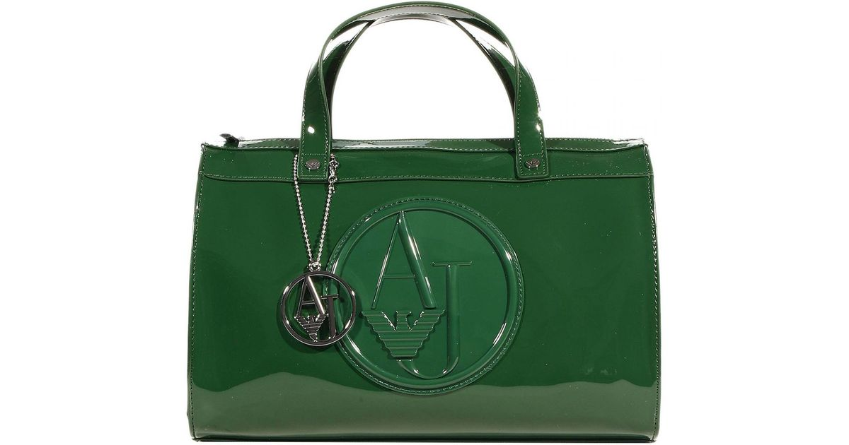 Lyst - Giorgio Armani Handbag Trunk Bag Patent Leather 31X25X16 Cm in Green 9809c6309717c