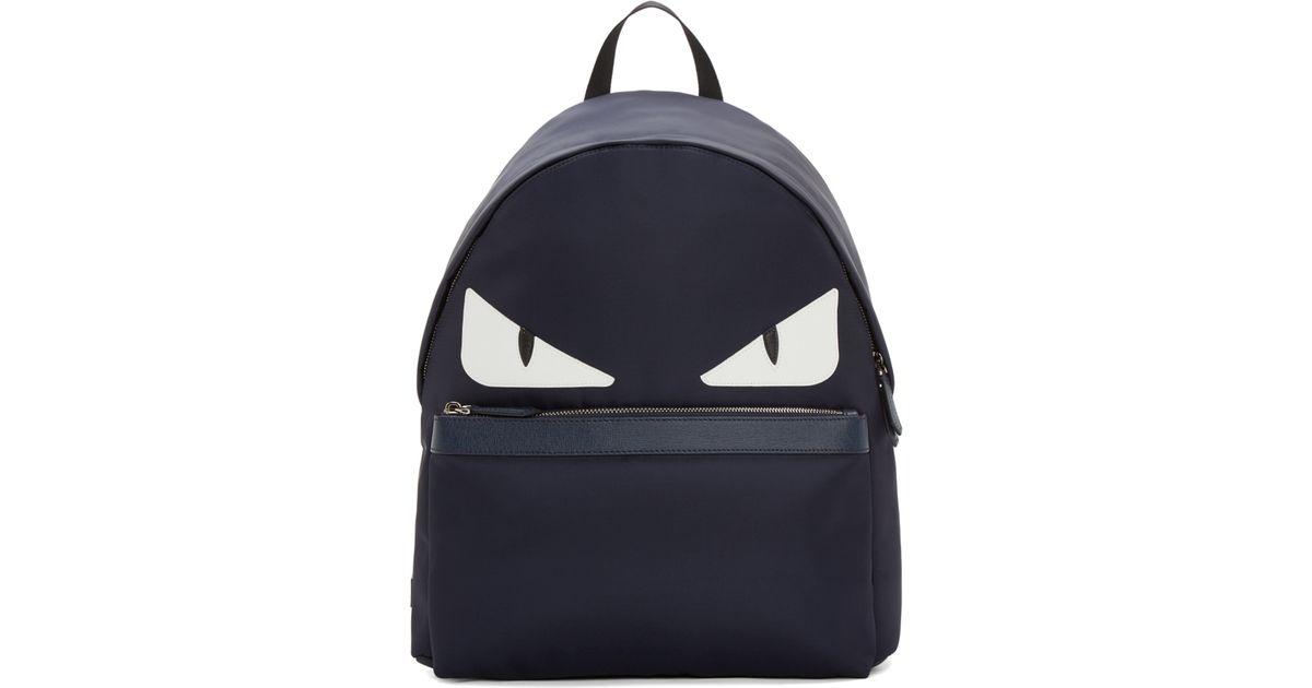 6fc822c22b94 Lyst - Fendi Navy Nylon Monster Backpack in Blue for Men
