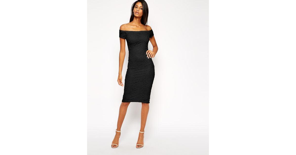 ef5701711fa4 ASOS True Lace Bardot Midi Bodycon Dress in Black - Lyst
