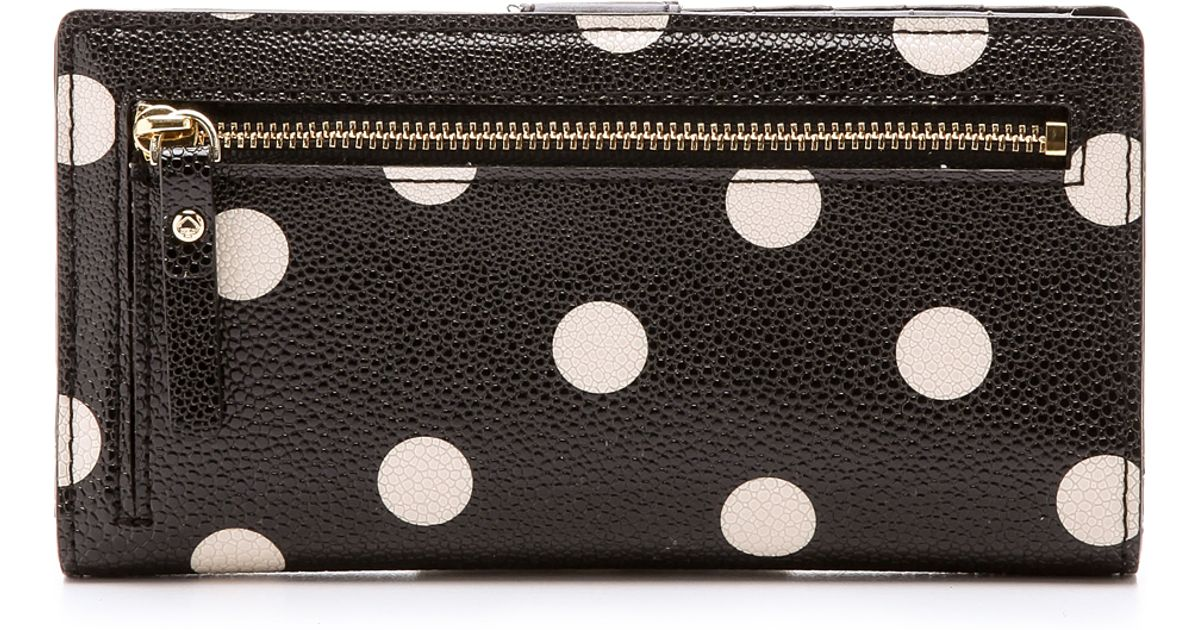 Lyst kate spade new york cedar street dot stacy continental wallet lyst kate spade new york cedar street dot stacy continental wallet blackdeco beige in natural junglespirit Image collections