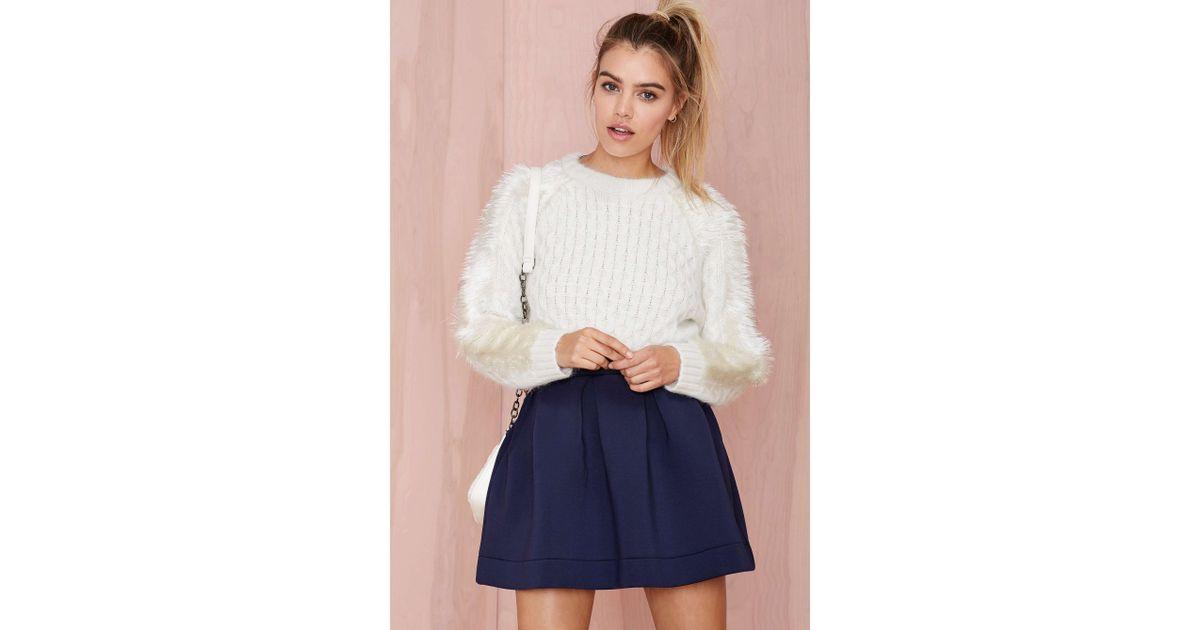 ea478d3745 Nasty Gal Three Floor Angelica Angora Crop Sweater in White - Lyst