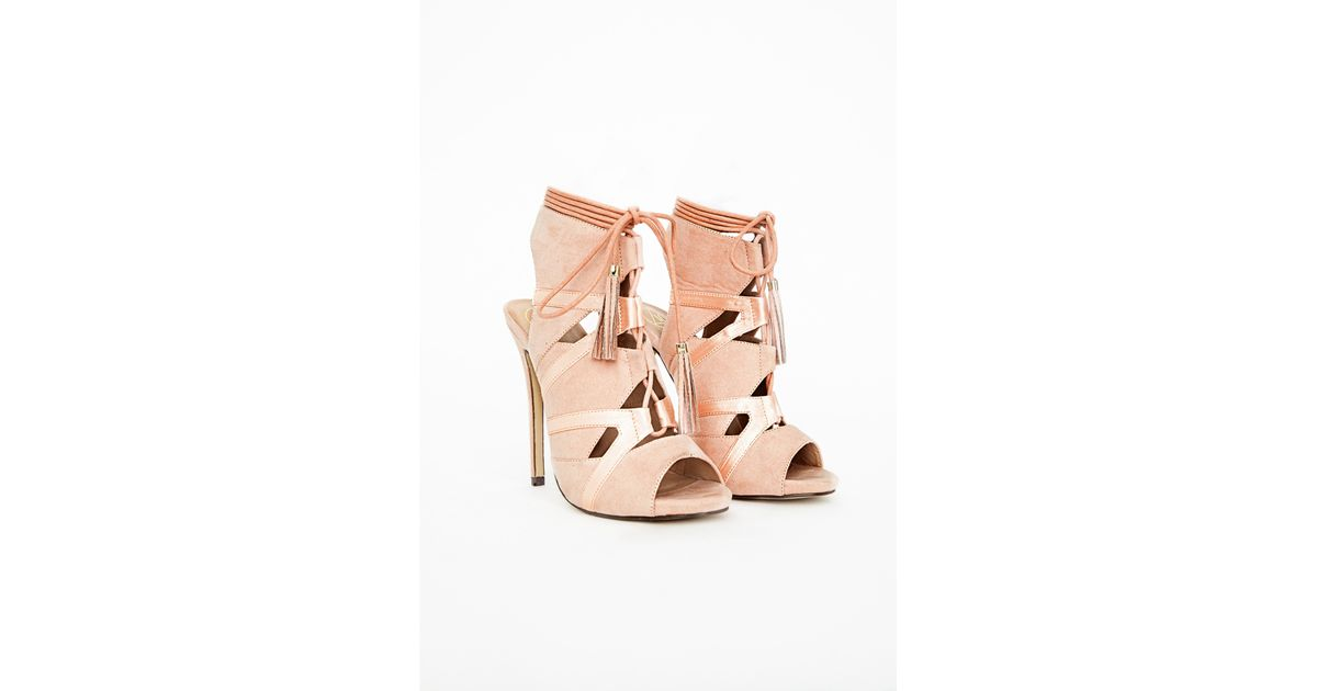 b3978e5fcd6 Lyst - Missguided Valentina Lace Up Tassel Heeled Sandals Blush in Pink