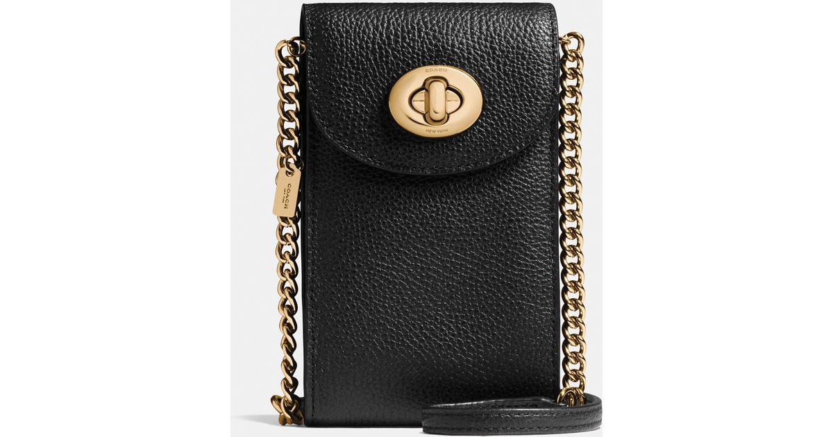 621341adbc COACH Black Cell-Holder Pebbled-Leather Cross-Body Bag