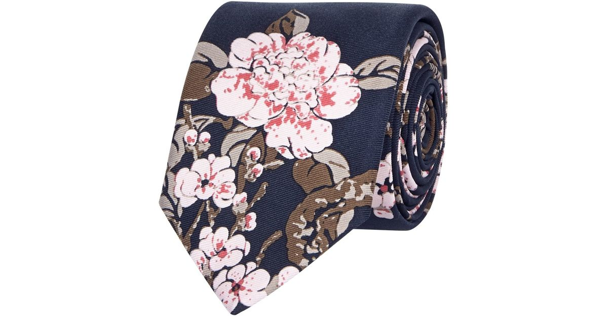 River island Navy Silk Japanese Floral Print Tie in Blue ...