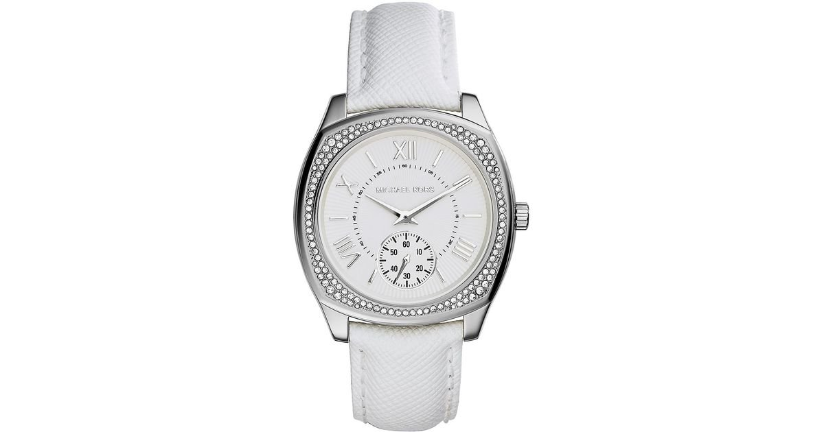 10ed954dd90a4 Michael Kors Ladies Bryn Stainless Steel Saffiano Leather Strap Watch in  Metallic - Lyst