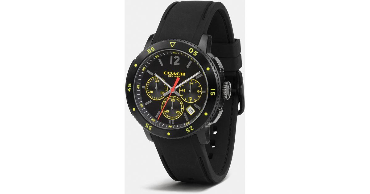 9264d378ec COACH Black Bleecker Sport Ionized Plating Chrono Rubber Strap Watch for men