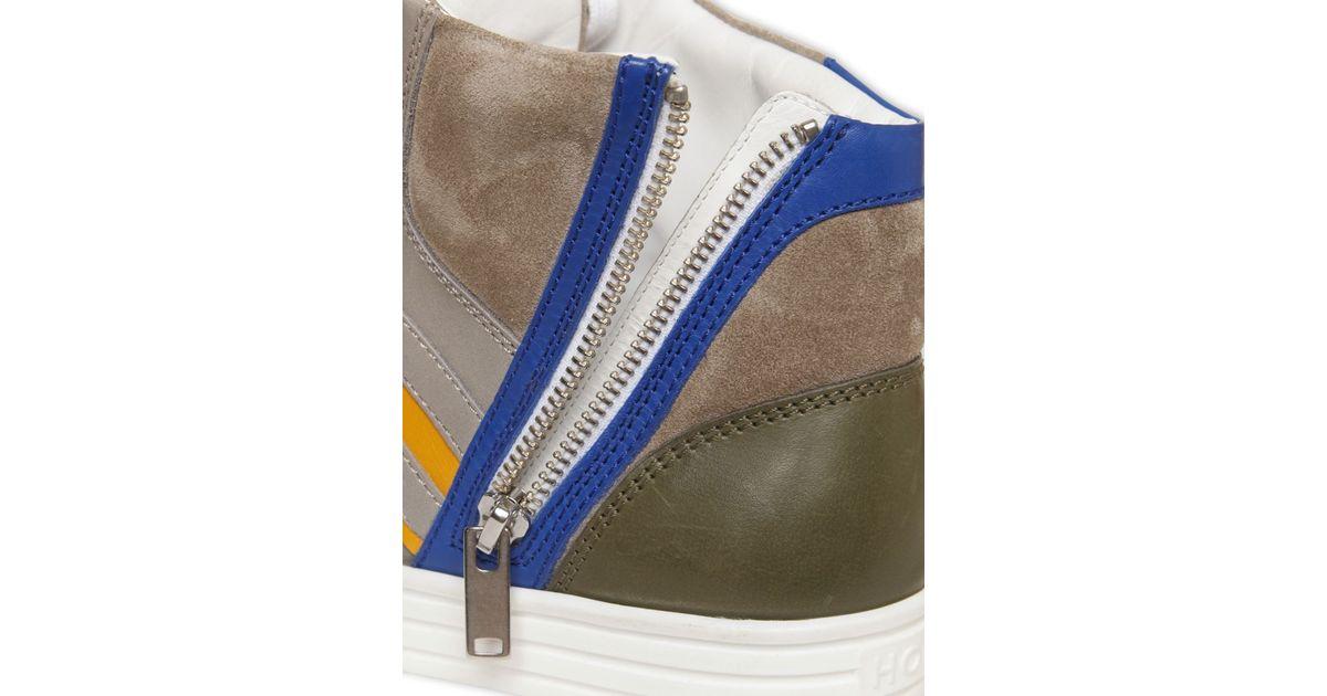 Hogan Rebel Multicolor Leather & Papirok High Top Sneakers for men