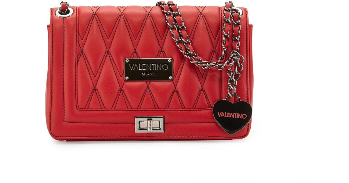 Lyst Valentino By Mario Alice D Quilted Leather Shoulder Bag In Red