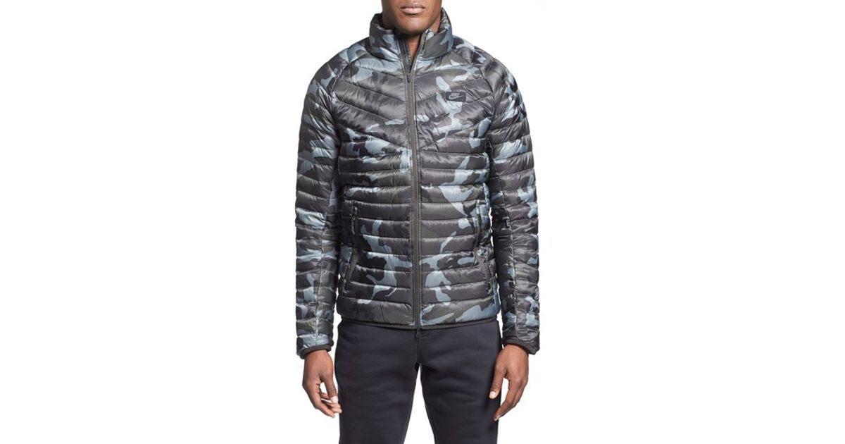 6f99b82a0337f Nike 'guild 550' Camo Print Quilted Down Jacket in Gray for Men - Lyst
